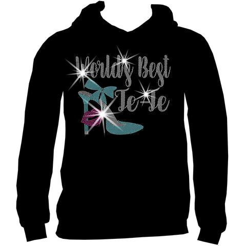 Worlds Best Te-Te, Auntie, or Personalized Name Holographic Sparkle Spangle Bling- Ladies Short Sleeve V-Neck, Long Sleeve V-Neck, Racerback Tank, Unisex hooded Sweatshirt-Long Sleeve V Neck, Short Sleeve V -Neck, Hoodie Sweatshirt-Becky's Boutique-XS-Unisex Hooded Sweatshirt-Beckys-Boutique.com