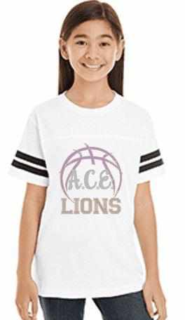 Youth OCPS ACE Spangle Rhinestone Bling Jersey with stripes Shirt- Basketball logo-multiple colors available Schools Becky's Boutique unisex youth Extra-small purple with white sleeve stripes