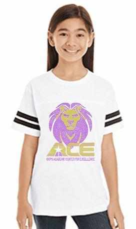 Youth OCPS ACE Spangle Rhinestone Bling Jersey with stripes Shirt- standard logo-multiple colors available Schools Becky's Boutique unisex youth Extra-small purple with white sleeve stripes