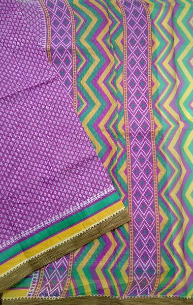 Fasnic.com Purple Printed Pure Cotton Saree. Unstitched blouse attached