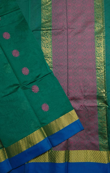 Fasnic.com Dark Green and Pink Embossed Cotton Silk Saree. Unstitched blouse attached