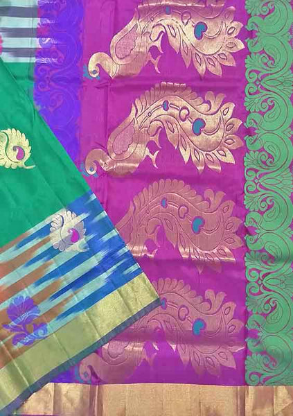 Pure Soft Silk Saree Sea Green & Purple color with Peacock Design Folded View from Fasnic