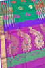 Pure Soft Silk Saree Sea Green & Purple color with Peacock Design Full View from Fasnic