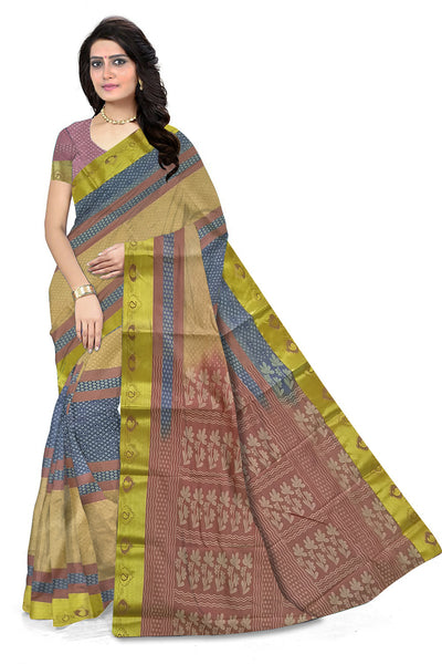 Radiant Onion Pink & Blue Art Silk Saree front view