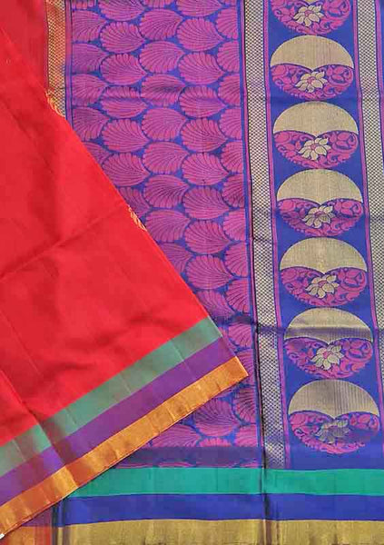 Soft Silk Saree Red & Pink color with Floral Design Folded View from Fasnic