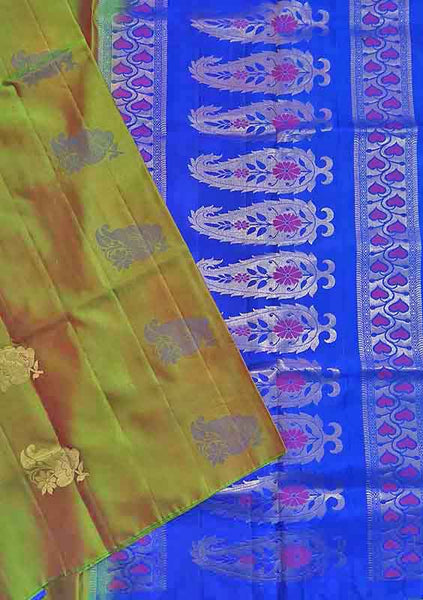 Soft Silk Saree Olive Green & Blue color with Floral Design Folded View from Fasnic