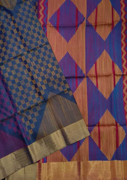 Jute Soft Silk Saree Blue & Orange color with Checked Design Folded View Fasnic