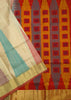 Jute Soft Silk Saree Half White & Red color with Temple & Box Design Folded View Fasnic