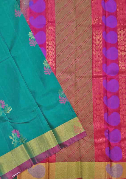 Soft Silk Saree Teal Blue color with Floral Design & Mango Design Folded View from Fasnic