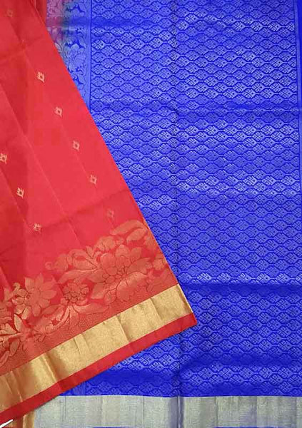 Soft Silk Saree Red & Blue Floral color with Design Folded View Fasnic