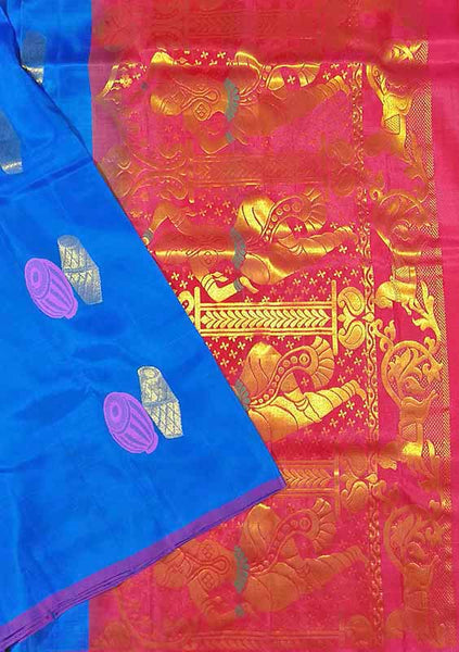 Pure Soft Silk Saree Blue & Red color with Doll Design Folded View from Fasnic