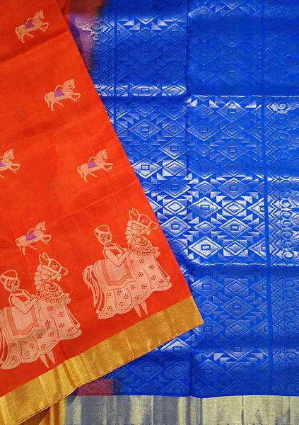 Soft Silk Saree Orange & Blue color with Animal & Self Design Folded View Fasnic