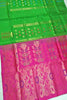 Soft Silk Saree Green & Pink color with Floral Design Full View Fasnic
