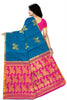Impressive Blue & Pink Art Silk Saree Back view