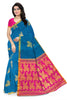 Impressive Blue & Pink Art Silk Saree front view