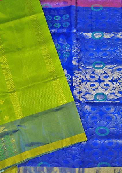 Soft Silk Saree Green Yellow & Blue color with Floral Design Folded View Fasnic
