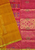 Soft Silk Saree Orange & Violet color with Floral Design Folded View Fasnic