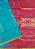 Soft Silk Saree Cyan & Violet color with Floral Design Folded View Fasnic