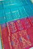 Soft Silk Saree Cyan & Violet color with Floral Design Full View Fasnic