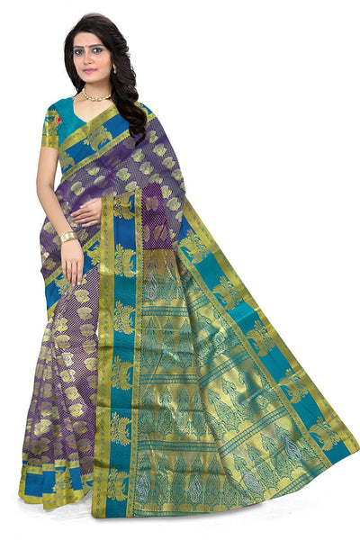 Stunning Purple & Blue Art Silk Saree front view