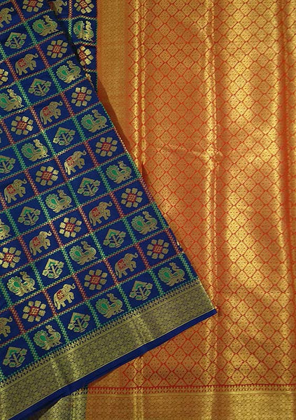 Silk Saree Blue color with Checked & Animal Design Folded View Fasnic