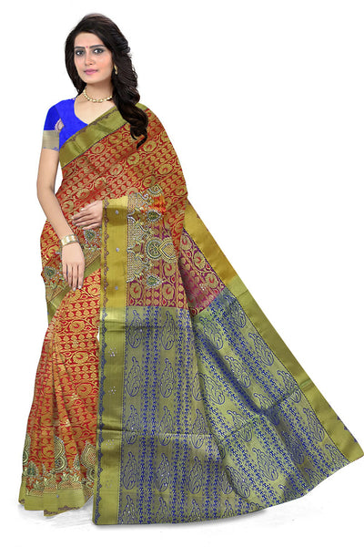 Fascinating Orange & Blue Art Silk Saree front view