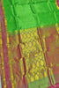 Full view of Fasnic's Green Light wight silk saree with Floral design. Unstitched blouse attached