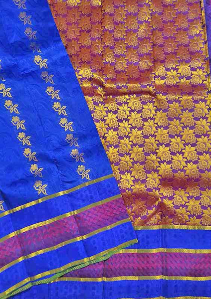 Folded view of Fasnic's Blue light wight silk saree with Floral design. Unstitched blouse attached