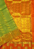 Light Weight Silk Saree - Green & Orange - Animal Design