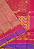 Folded view of Fasnic's pink light wight silk saree with self design. Unstitched blouse attached
