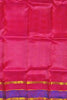 Blouse view of Fasnic's pink light wight silk saree with self design. Unstitched blouse attached