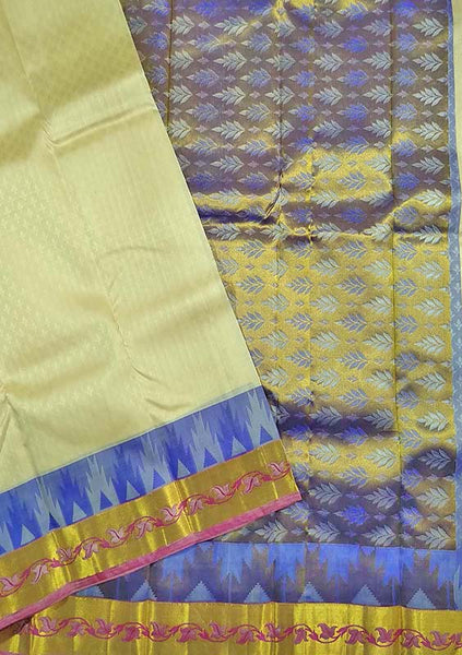 Folded view of Fasnic's Sandal white light wight silk saree with self design. Unstitched blouse attached
