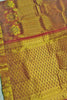 Full view of Fasnic's Golden & Brown kanjivaram silk saree with floral design. Unstitched blouse attached