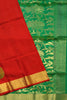 Fasnic's Pure Soft Silk Saree - Dark Red & Green - Peacock Design Saree . Unstitched blouse attached