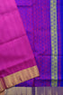 Jute Plain Soft Silk Saree - Violet Red & Blue - Floral Design