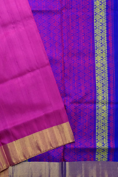 Fasnic's Jute Plain Soft Silk Saree - Violet Red & Blue - Floral Design Saree . Unstitched blouse attached