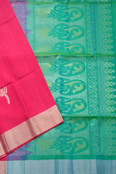 Fasnic's Soft Silk Saree - Red & Green - Floral Design Saree . Unstitched blouse attached