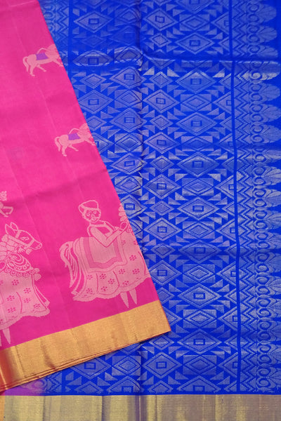 Fasnic's Soft Silk Saree - Deep Pink & Blue - Doll Design Saree . Unstitched blouse attached