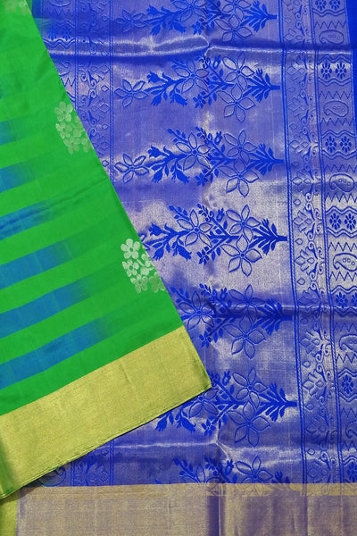 Fasnic's Pure  Soft Silk Saree - Green & Royal Blue - Floral Design Saree . Unstitched blouse attached