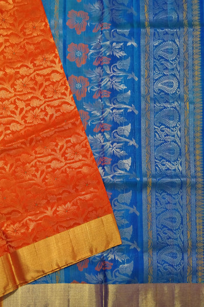 Fasnic's Pure Soft Silk Saree - Floral Design Saree . Unstitched blouse attached