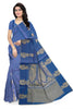 Cheerful Dark Blue & Golden Pure Cotton Saree front view