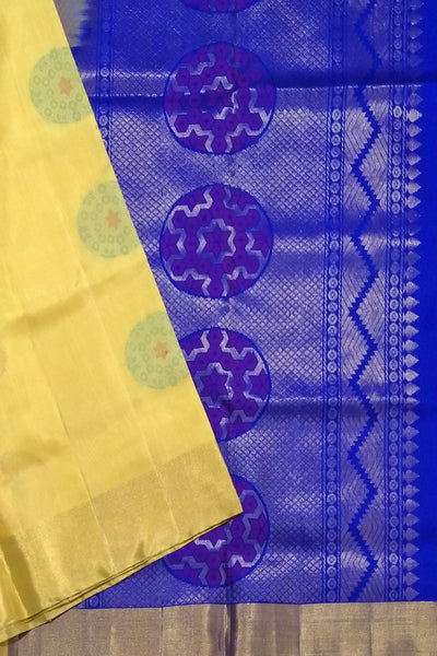 Fasnic's Soft Silk Saree - Yellow & Blue - Self Design Saree . Unstitched blouse attached