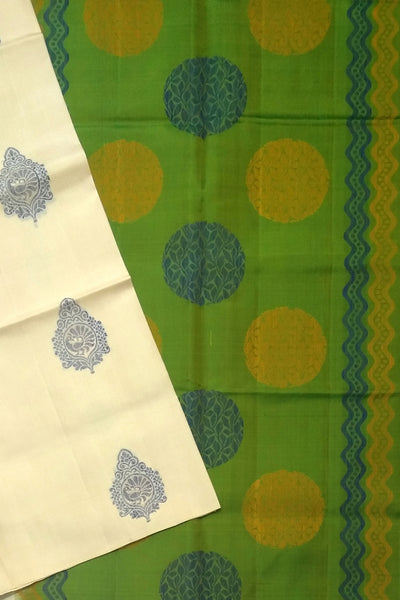 Fasnic's Pure Soft Silk Saree - Half White & Green - Self Design Saree . Unstitched blouse attached