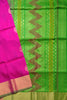 Fasnic.com Pure Soft Silk Saree - Violet Red & Green - Leaf Design. Unstitched blouse attached