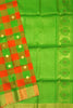 Fasnic's Pure Soft Silk Saree - Multi Color - Checked Design Saree . Unstitched blouse attached