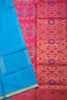 Fasnic.com Pure Soft Silk Saree - Royal Blue & Deep Pink - Floral Design. Unstitched blouse attached