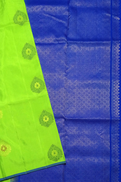 Fasnic.com Borderless Pure Soft Silk Saree - Green Yellow & Blue - Floral Design. Unstitched blouse attached