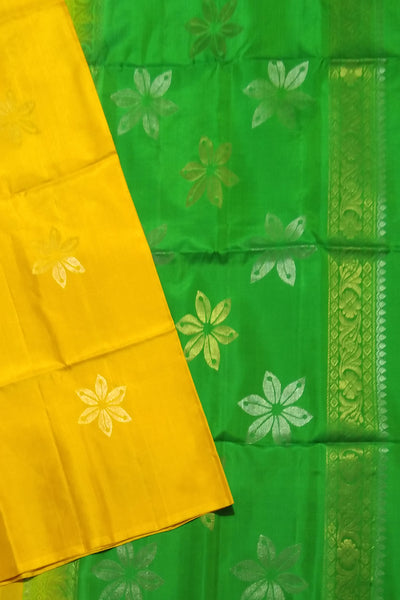 Fasnic.com Borderless Pure Soft Silk Saree - Yellow & Green - Floral Design. Unstitched blouse attached