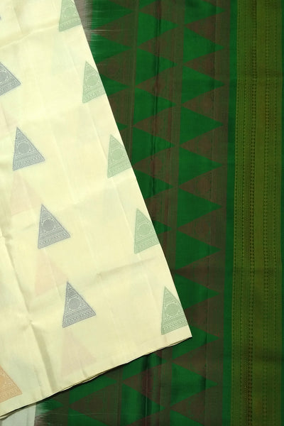 Fasnic.com Borderless Pure Soft Silk Saree - Half White & Green - Self Design. Unstitched blouse attached