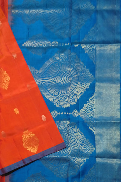 Fasnic.com Pure Soft Silk Saree - Red & Royal Blue - Self Design. Unstitched blouse attached